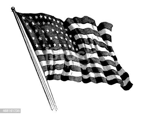 Antique XIX century engraving of the US flag.