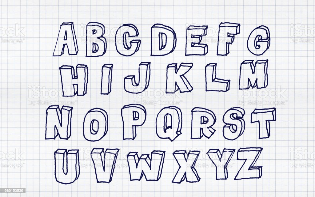 Hand drawn abc, doodle style. Blue letters over white squared paper...