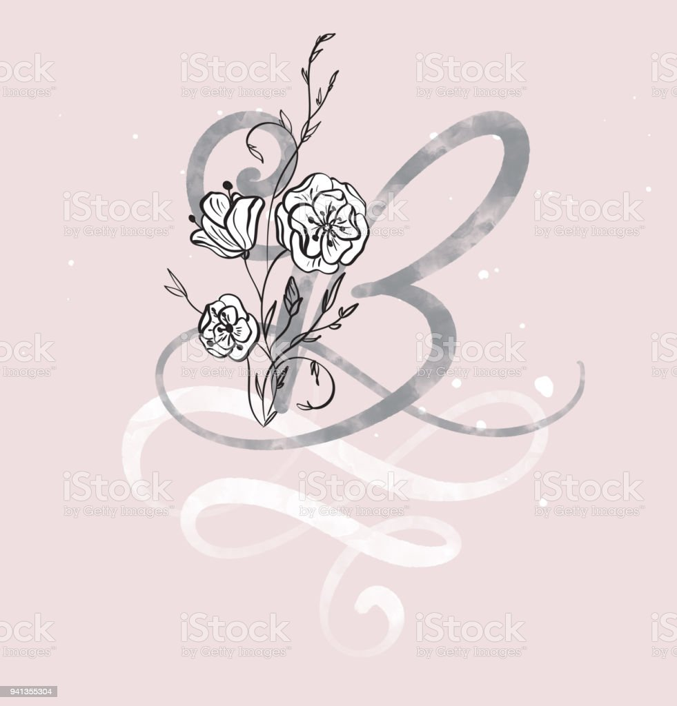 Hand Drawn Calligraphy Letter B With Flower Watercolor Script Font Isolated Letters Written