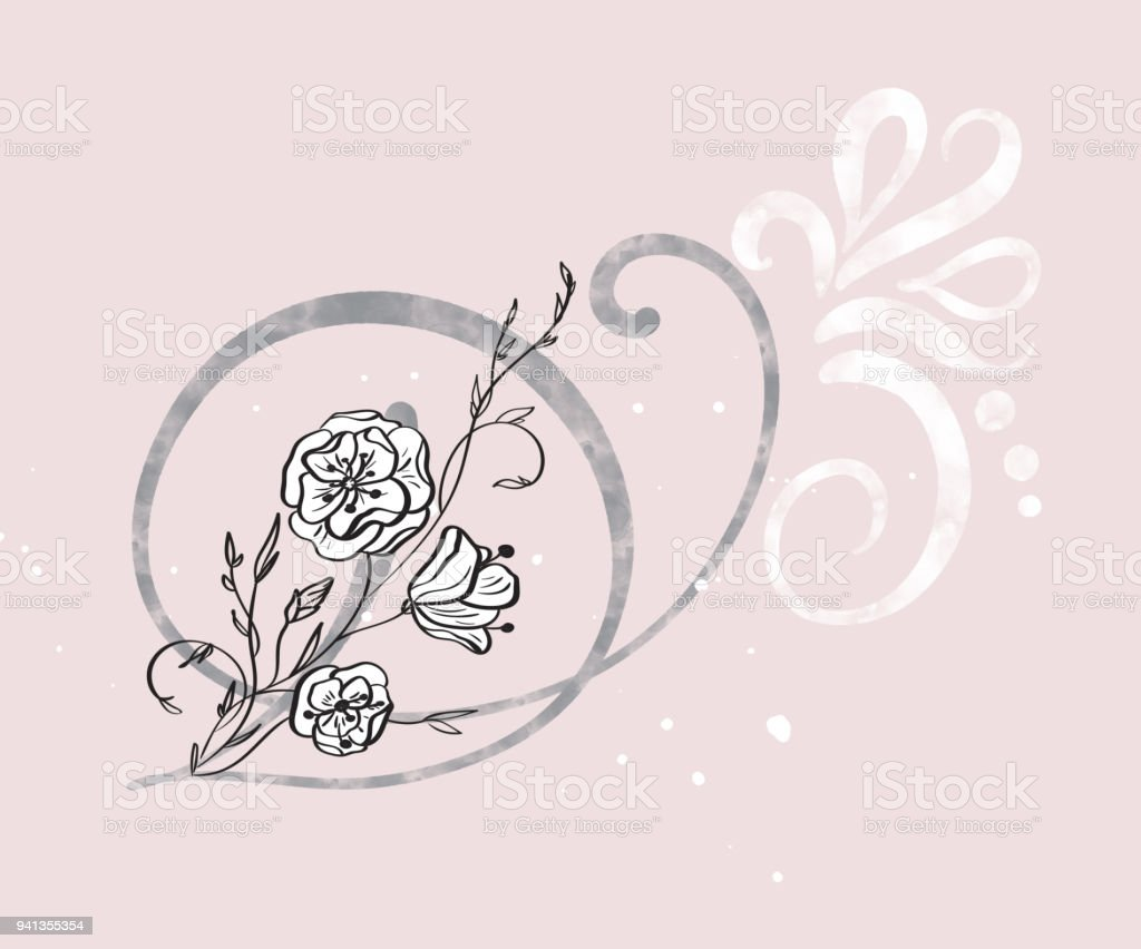 Hand Drawn Calligraphy Letter D With Flower Watercolor Script Font Isolated Letters Written