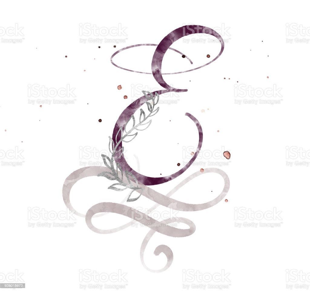 Hand Drawn Calligraphy Letter E Watercolor Script Font Isolated Letters Written With Ink