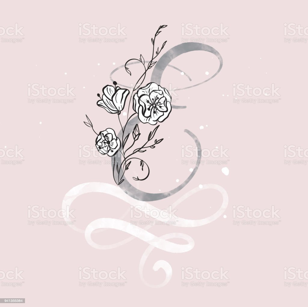 Hand Drawn Calligraphy Letter E With Flower Watercolor Script Font Isolated Letters Written