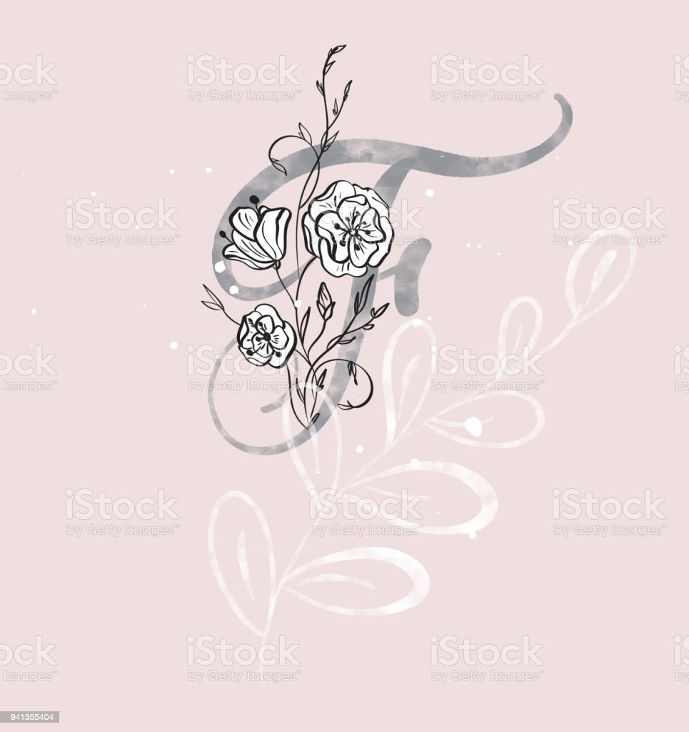 Hand Drawn Calligraphy Letter F With Flower Watercolor Script Font Isolated Letters Written