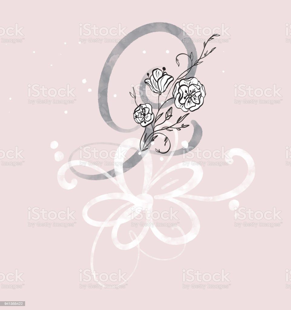 Hand Drawn Calligraphy Letter G With Flower Watercolor Script Font Isolated Letters Written