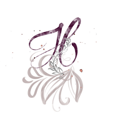 Hand Drawn Calligraphy Letter H Watercolor Script Font