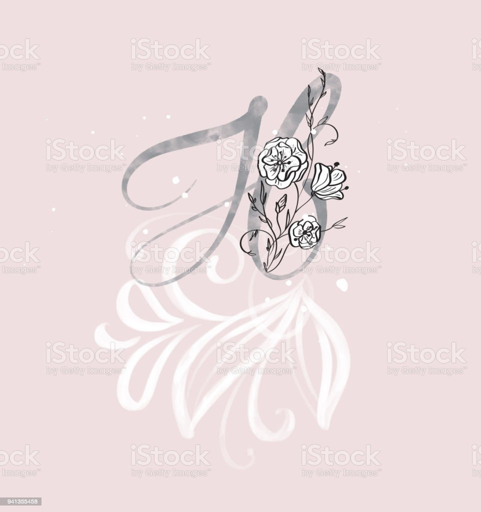 Hand Drawn Calligraphy Letter H With Flower Watercolor Script Font Isolated Letters Written