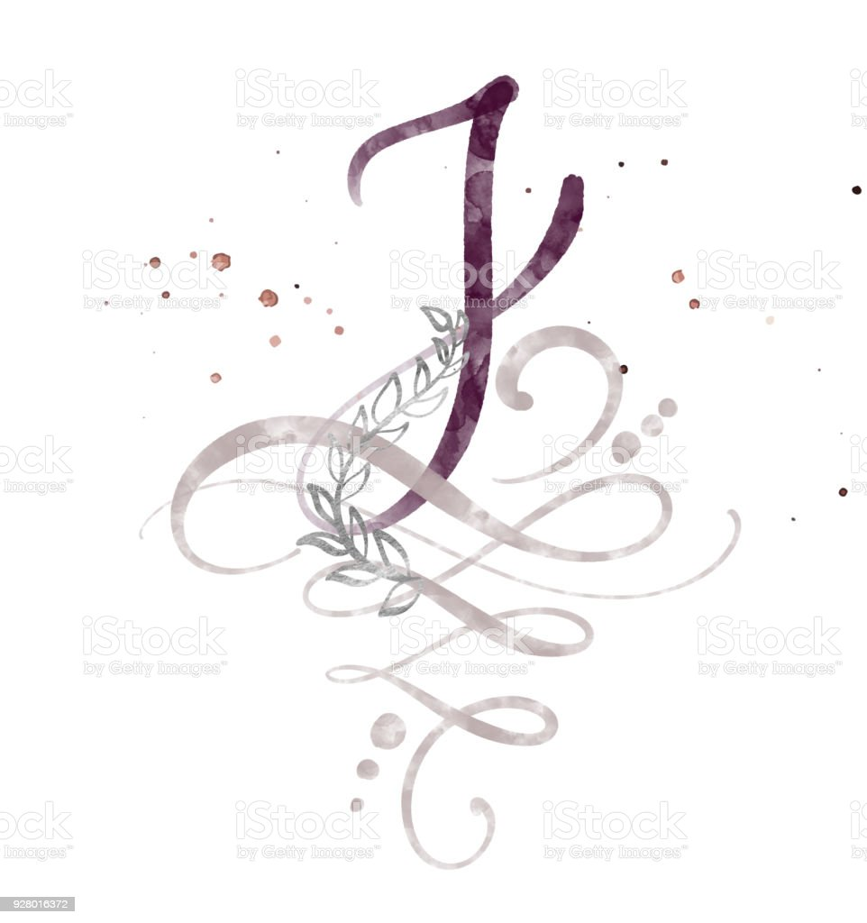 Hand Drawn Calligraphy Letter J Watercolor Script Font Isolated Letters Written With Ink