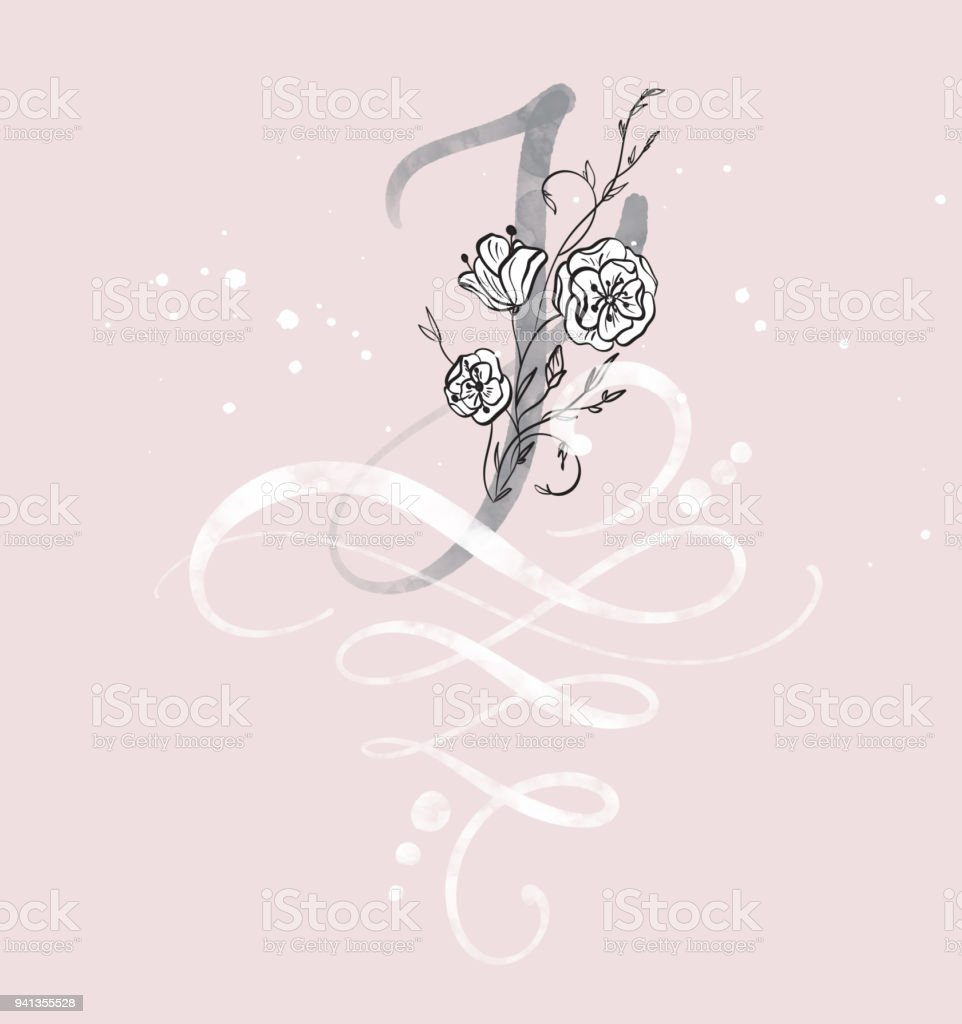 Hand Drawn Calligraphy Letter J With Flower Watercolor Script Font Isolated Letters Written