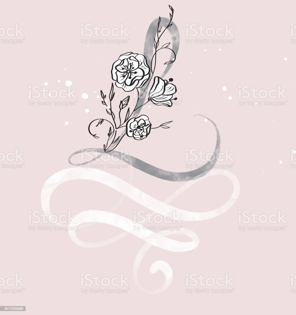 Hand Drawn Calligraphy Letter L With Flower Watercolor Script Font Isolated Letters Written