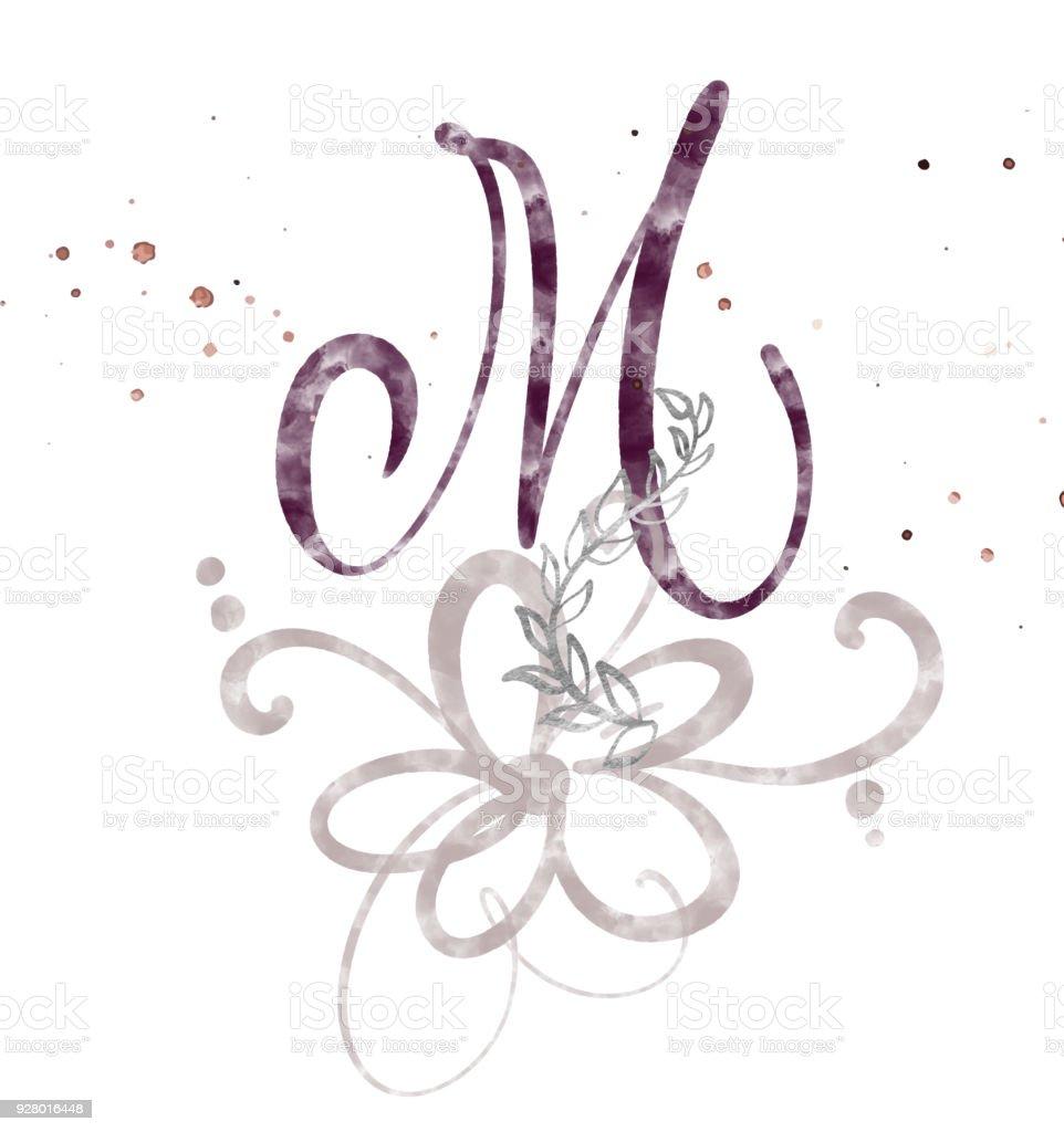 abbf13884 Mão-extraídas fonte Aquarela do Script de caligrafia letra M.. Isolado  letras escritas