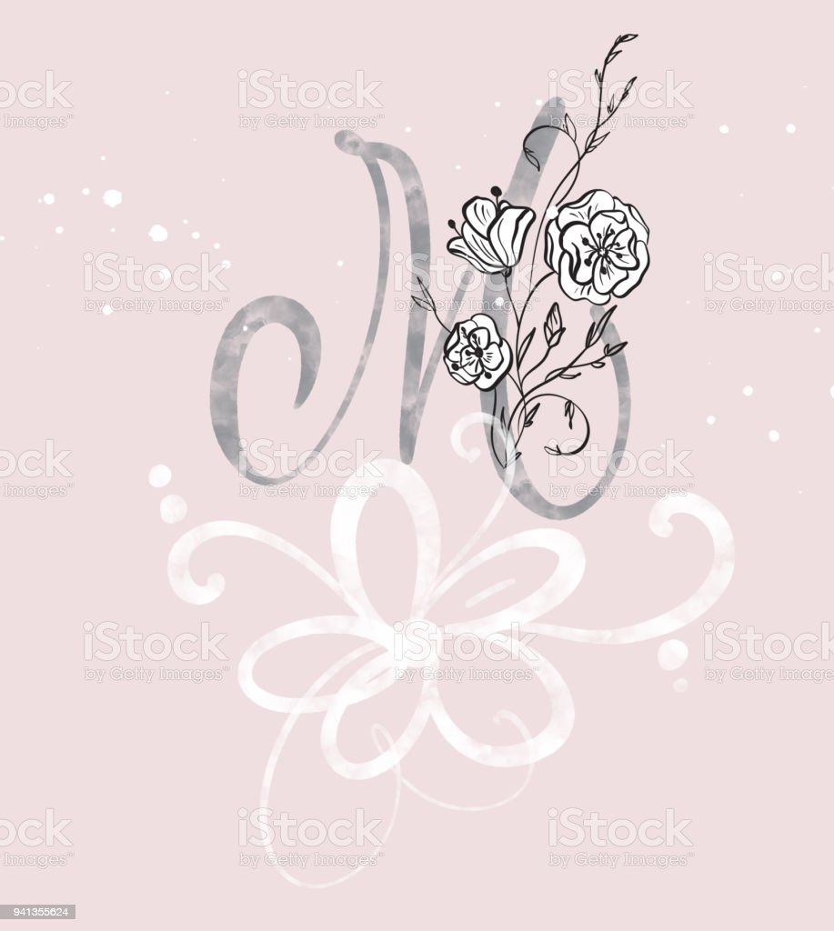 Hand Drawn Calligraphy Letter M With Flower Watercolor Script Font Isolated Letters Written