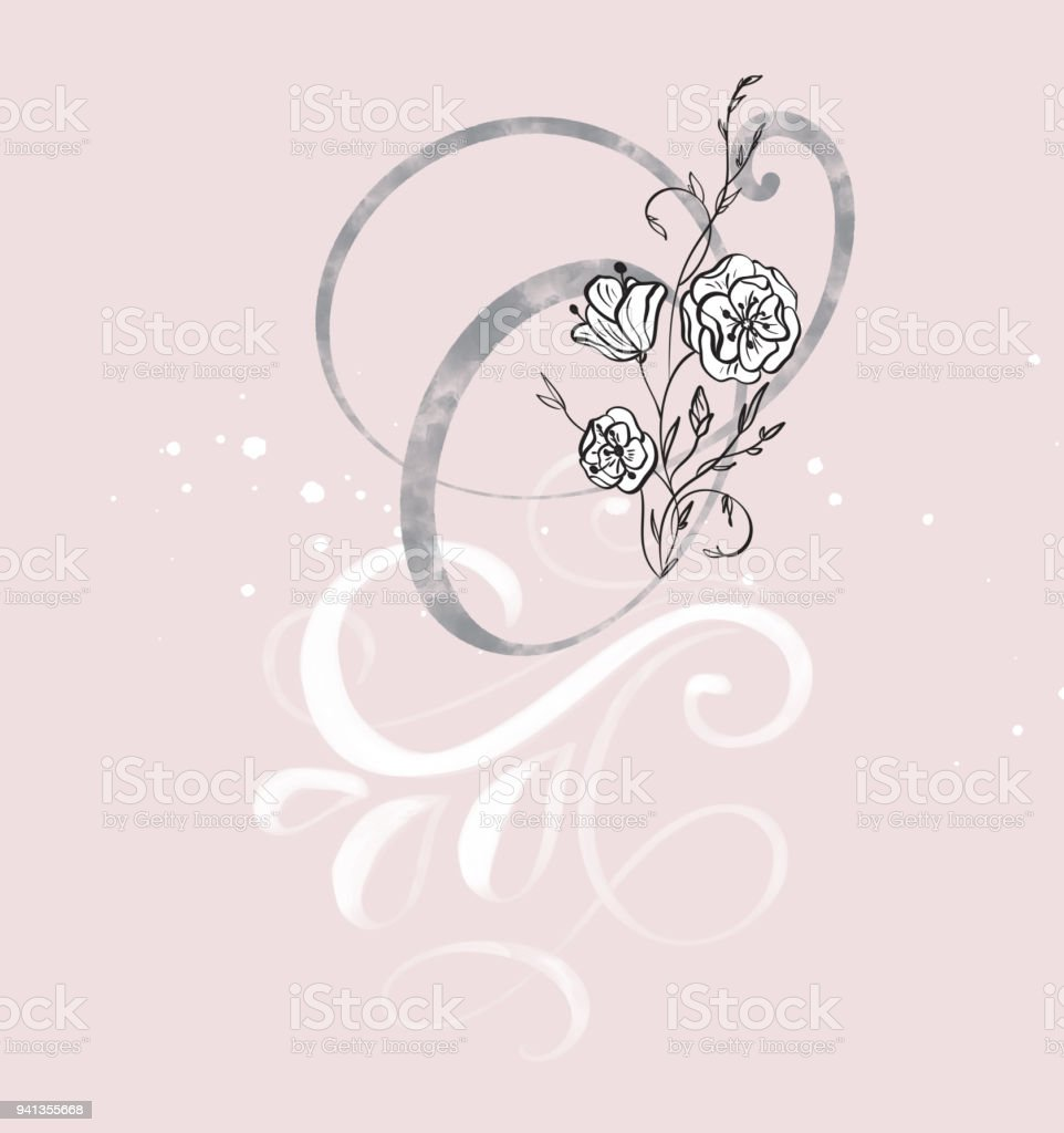Hand Drawn Calligraphy Letter O With Flower Watercolor Script Font