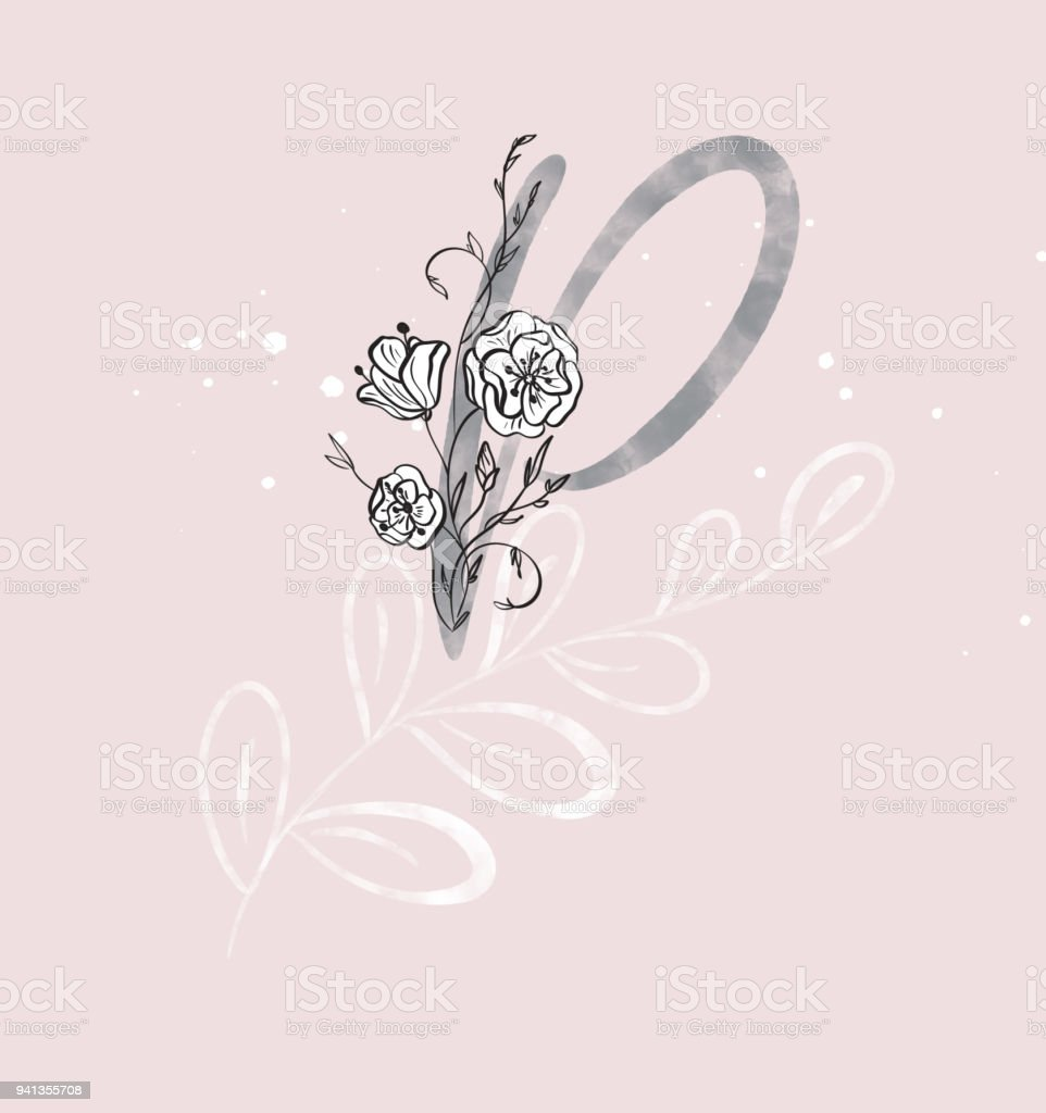 Hand Drawn Calligraphy Letter P With Flower Watercolor Script Font Isolated Letters Written