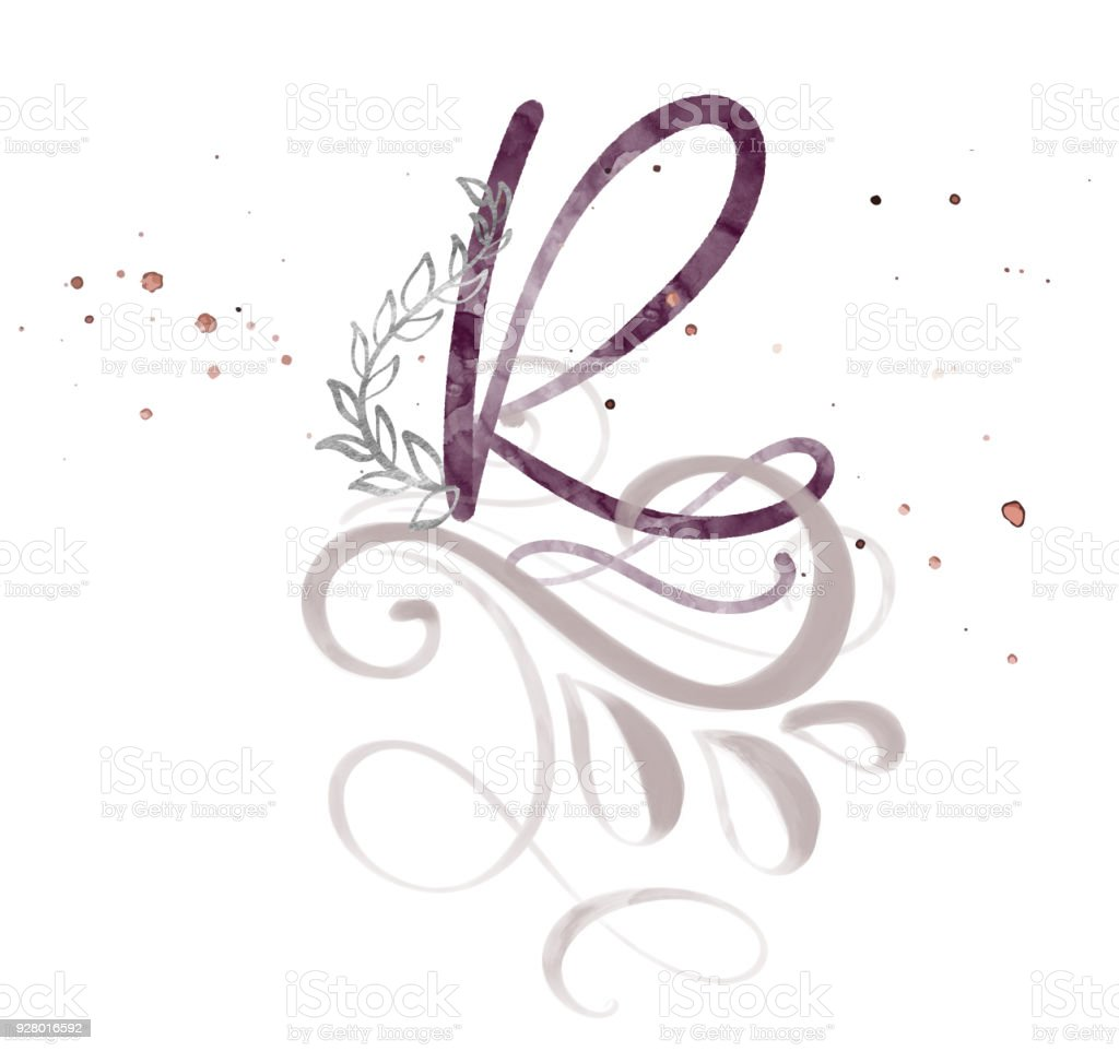 Hand Drawn Calligraphy Letter R Watercolor Script Font Isolated