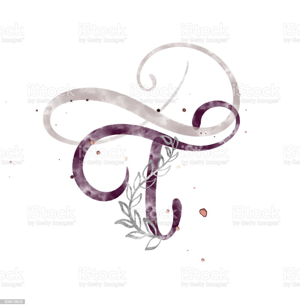 Hand Drawn Calligraphy Letter T Watercolor Script Font Isolated Letters Written With Ink