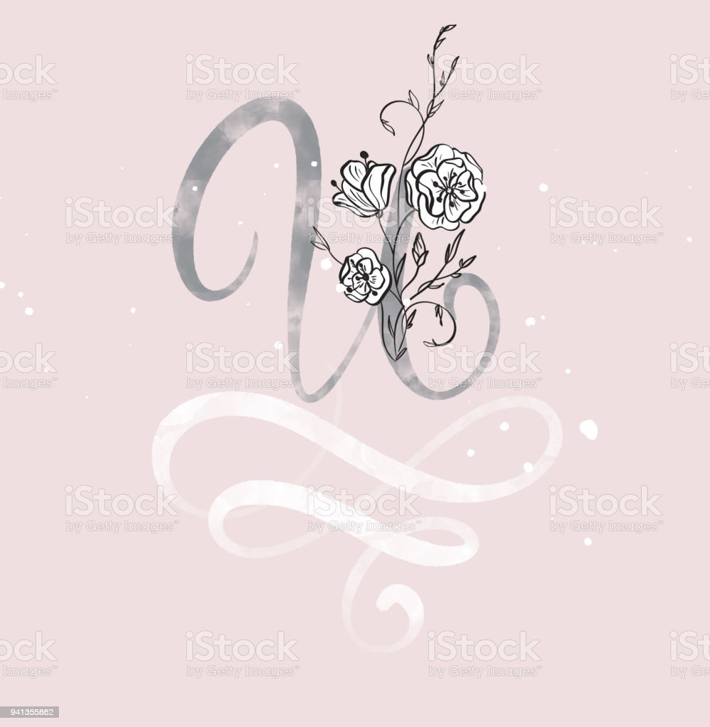 Hand Drawn Calligraphy Letter U With Flower Watercolor Script Font Isolated Letters Written
