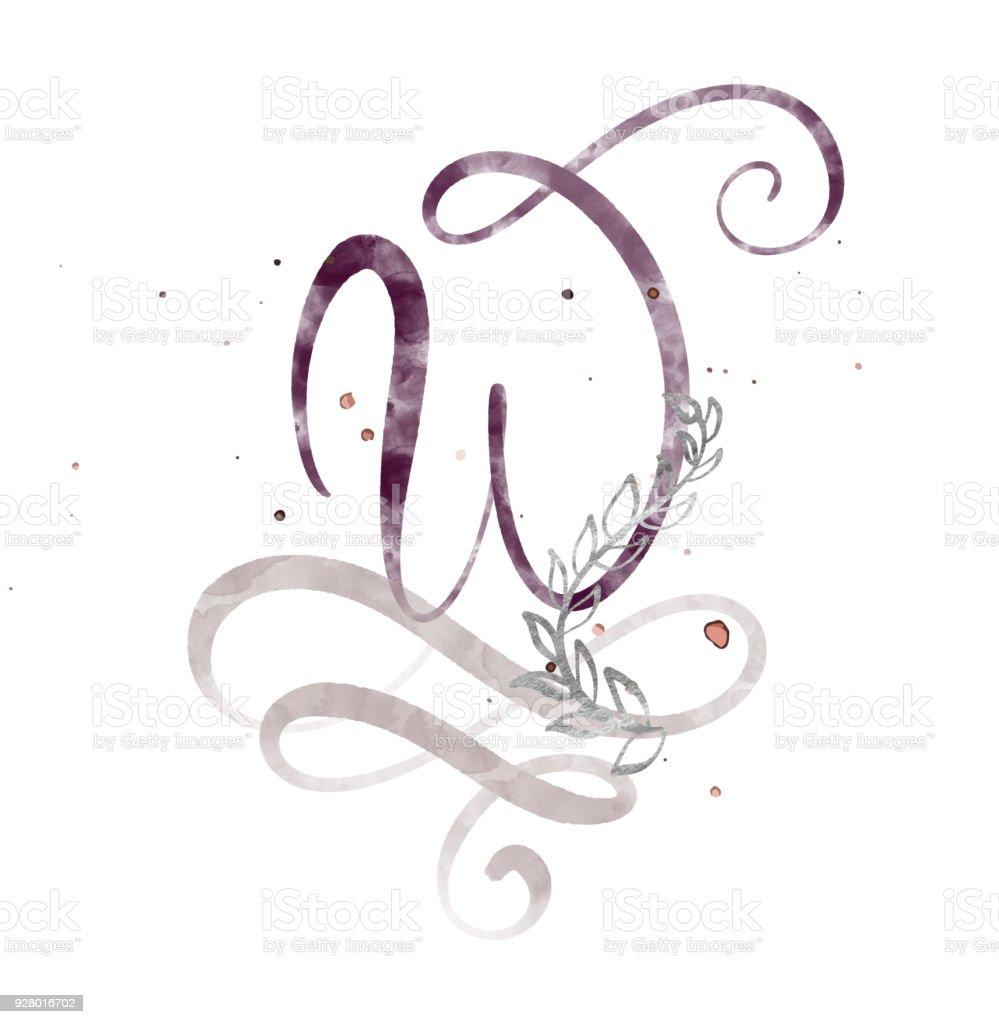 f4ca2622f Letra de caligrafia desenhada mão w. aquarela fonte de Script. Isolado  letras escritas com