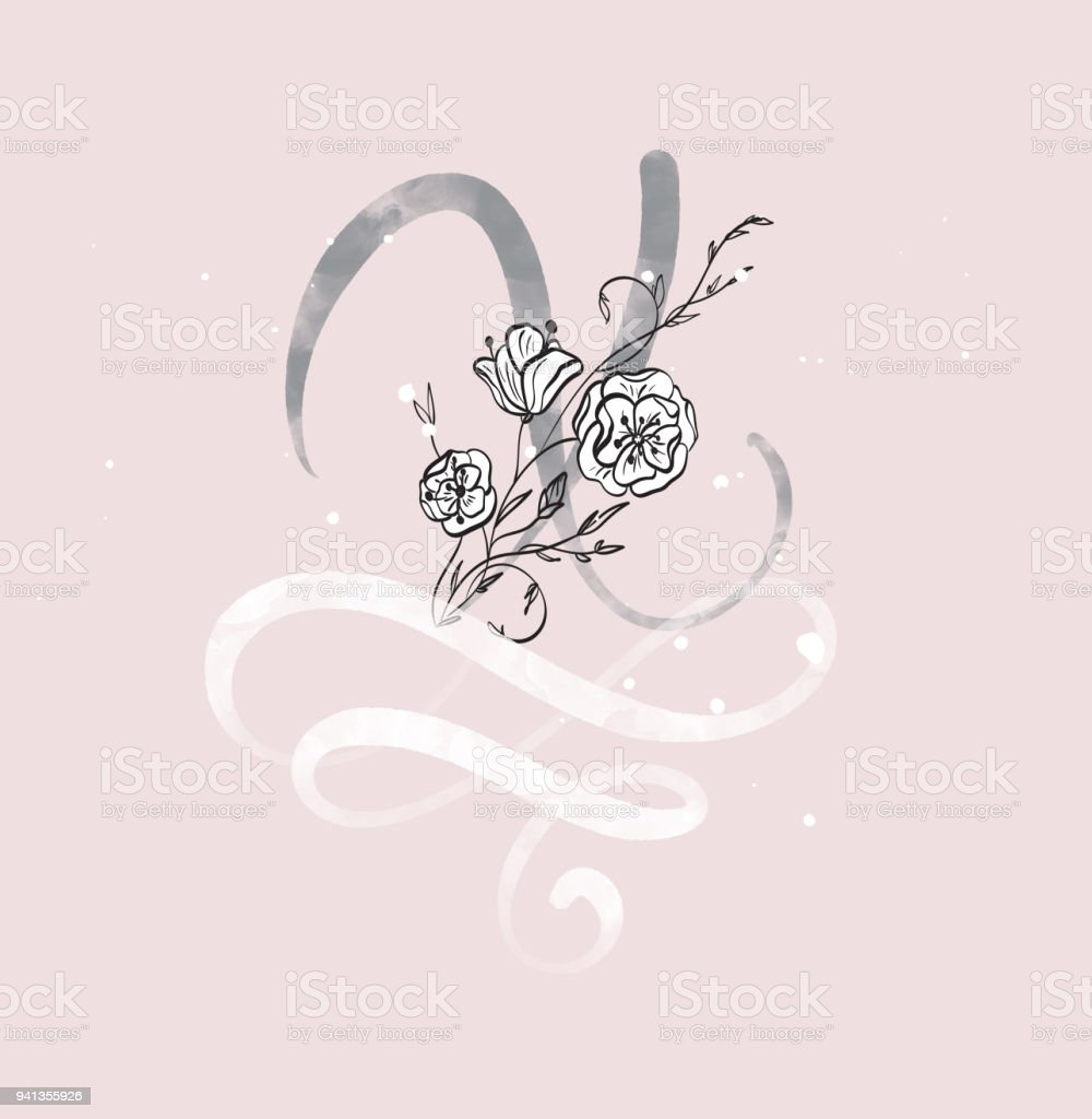 Hand Drawn Calligraphy Letter X With Flower Watercolor Script Font Isolated Letters Written