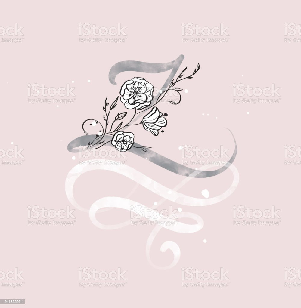 Hand Drawn Calligraphy Letter Z With Flower Watercolor Script Font Isolated Letters Written