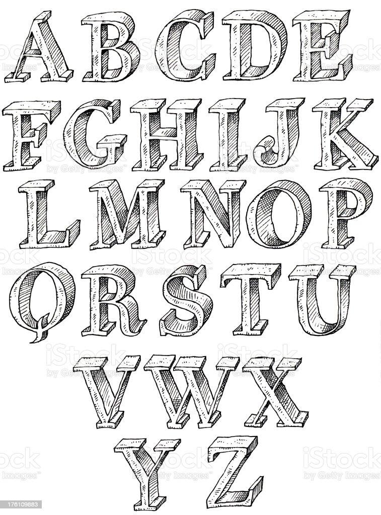Hand drawn capitals vector art illustration