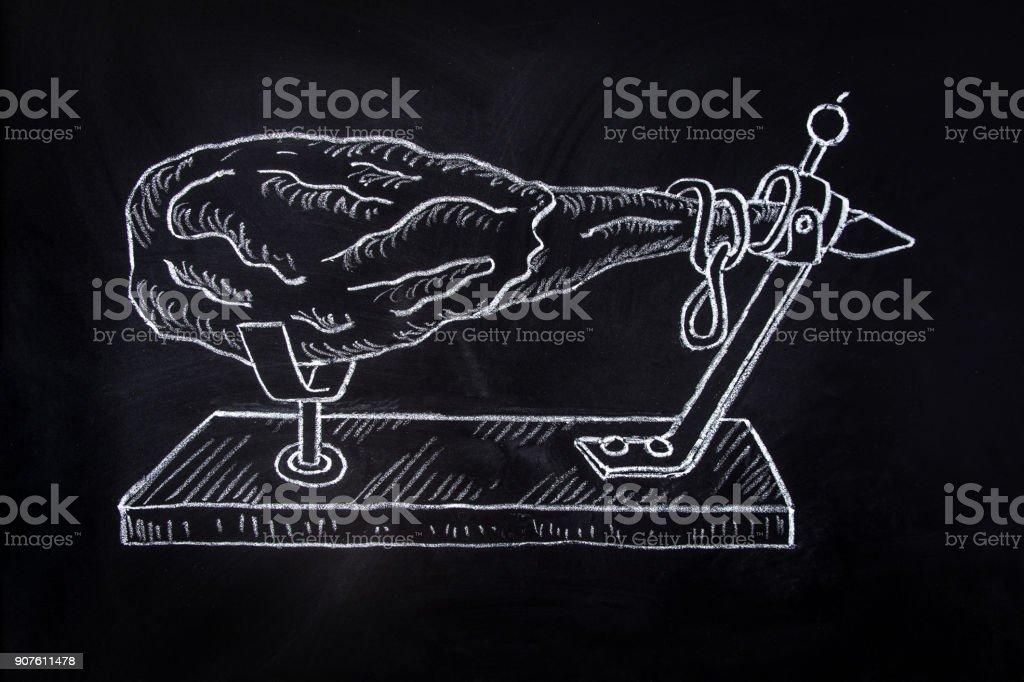 Hand Drawn Chalk Illustration on Blackboard Spanish Whole Dry-Cured Ham on Horizontal Stand. Logo Poster Restaurant Menu template. Product Branding Recipe vector art illustration