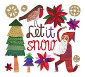Hand drawn Christmas theme set