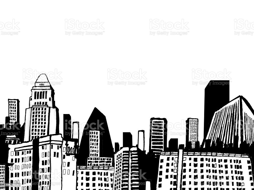 hand drawn city vector art illustration
