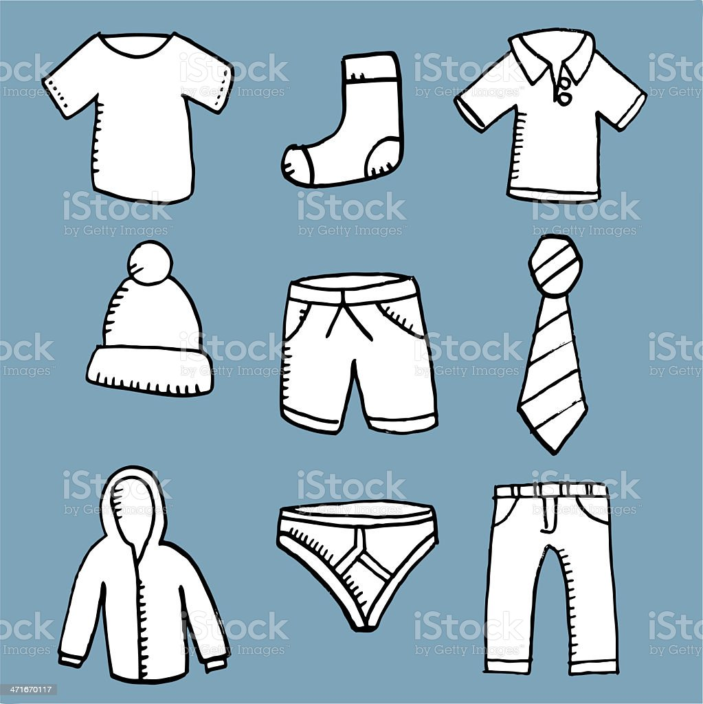 hand drawn clothing icons royalty-free hand drawn clothing icons stock vector art & more images of button down shirt