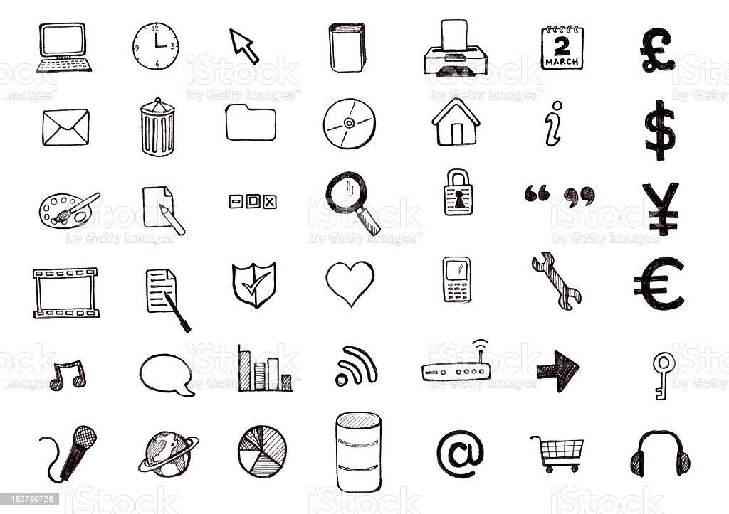 Hand drawn computer icon Zeichnungen – Vektorgrafik