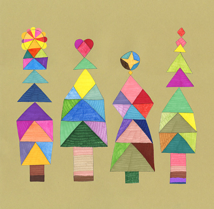 Hand drawn decorative festive trees