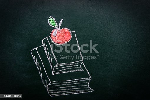 Hand Drawn Doodle Illustration with Chalk on Blackboard of Stack Pile of Books Red Glossy Apple on Top. Back to School Learning Education Knowledge Concept. Poster Banner Template