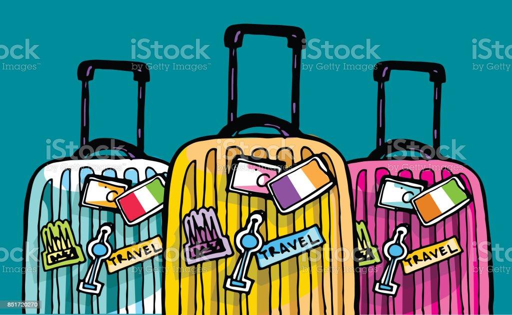Hand drawn doodle travel illustration. Bon voyage vector art illustration