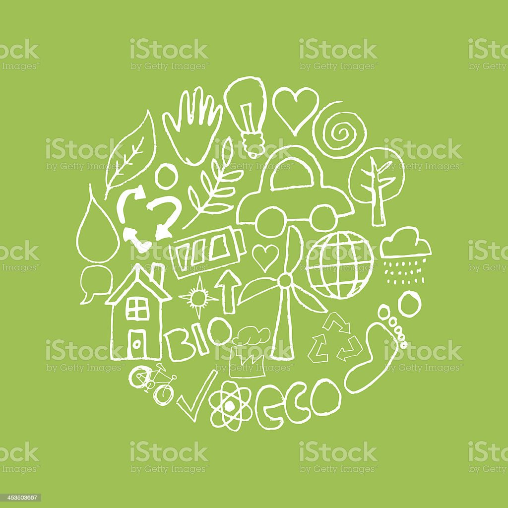 hand drawn environmental icons background royalty-free stock vector art