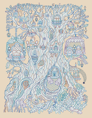 Hand drawn fantasy old tree with fairy tale house. Linear colorful contour sketch on a beige background. Adults and children Coloring book page, quarantine isolation period concept