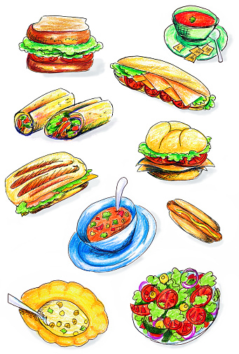 Hand drawn pen & colored pencil sketches of assorted soups, salads and sandwiches.