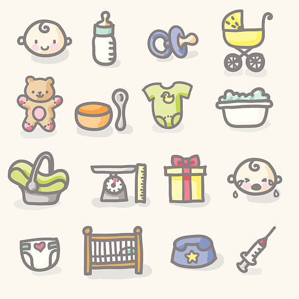 hand drawn icons: baby care baby related icon set grouped and layered for easy editing. infant bodysuit stock illustrations