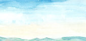 istock Hand drawn illustration light sky blue and light yellow watercolor, mountain background. 1210099981