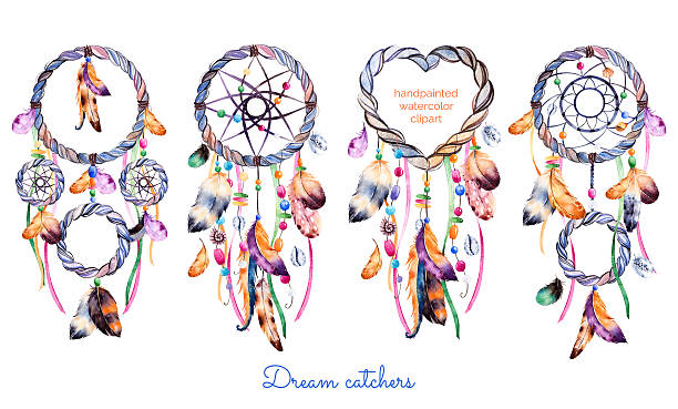 Hand drawn illustration of 4 dreamcatchers Hand drawn illustration of 4 dreamcatchers.Ethnic illustration with native American Indians watercolor dreamcatcher.Boho style. Parfect for Happy Valentines Day, print,diyprojects,print,greeting card dreamcatcher stock illustrations
