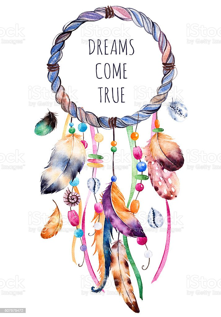 Hand drawn illustration of dreamcatcher vector art illustration