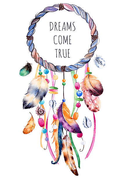 Hand drawn illustration of dreamcatcher Hand drawn illustration of dreamcatcher.Ethnic illustration with native American Indian watercolor dreamcatcher.Boho style.Template card.Parfect for greeting cards,print,diy projects,blogs.thanks card dreamcatcher stock illustrations