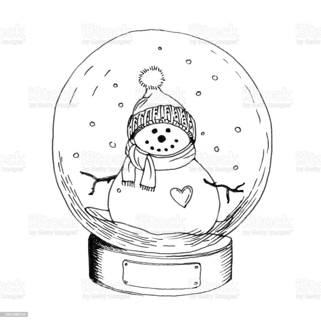 El çizimi Oyuncak Cam Kar Küresi Kardan Adam Ile çekilmiş Stok