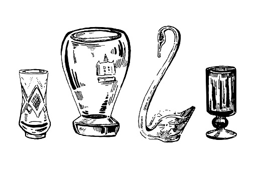 Hand drawn ink set of vases and glasses