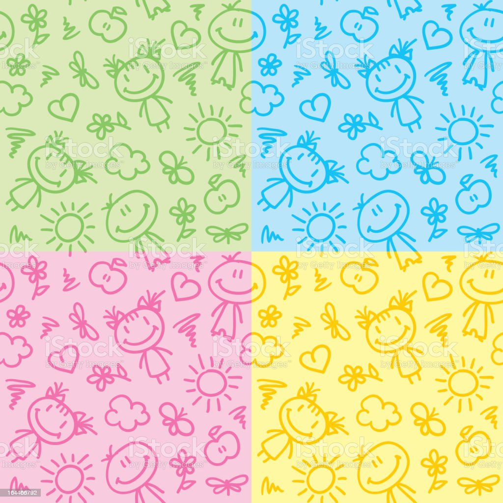hand drawn kid patterns royalty-free hand drawn kid patterns stock vector art & more images of apple - fruit