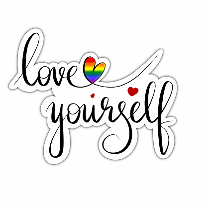"""LGBT hand drawn lettering """"Be yourself"""". LGBT phrase in the form of a sticker with shadow on a white background. Design for a card, poster, print"""