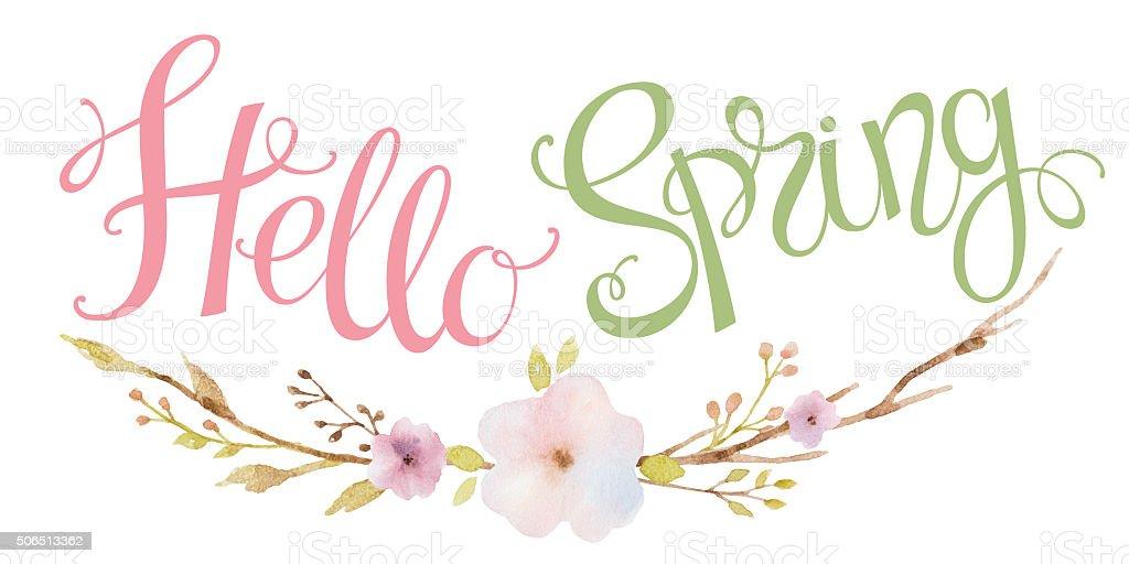 Hand drawn lettering  Hello Spring. vector art illustration