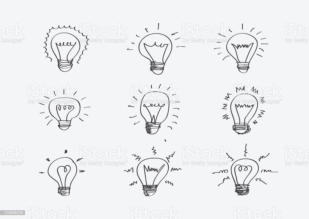 Lampadine Disegno A Mano Simbolo Delle Idee Immagini Vettoriali