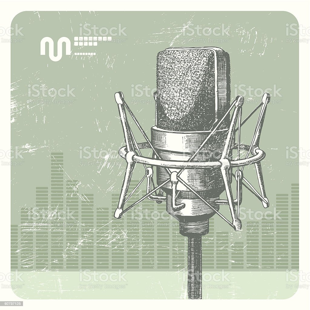 Hand drawn microphone - Royalty-free Art stock vector