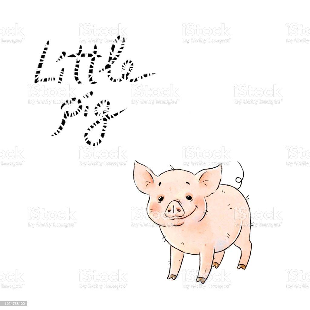 手描きのいたずら豚かわいい面白い豚の白い背景に分離されました今年の豚