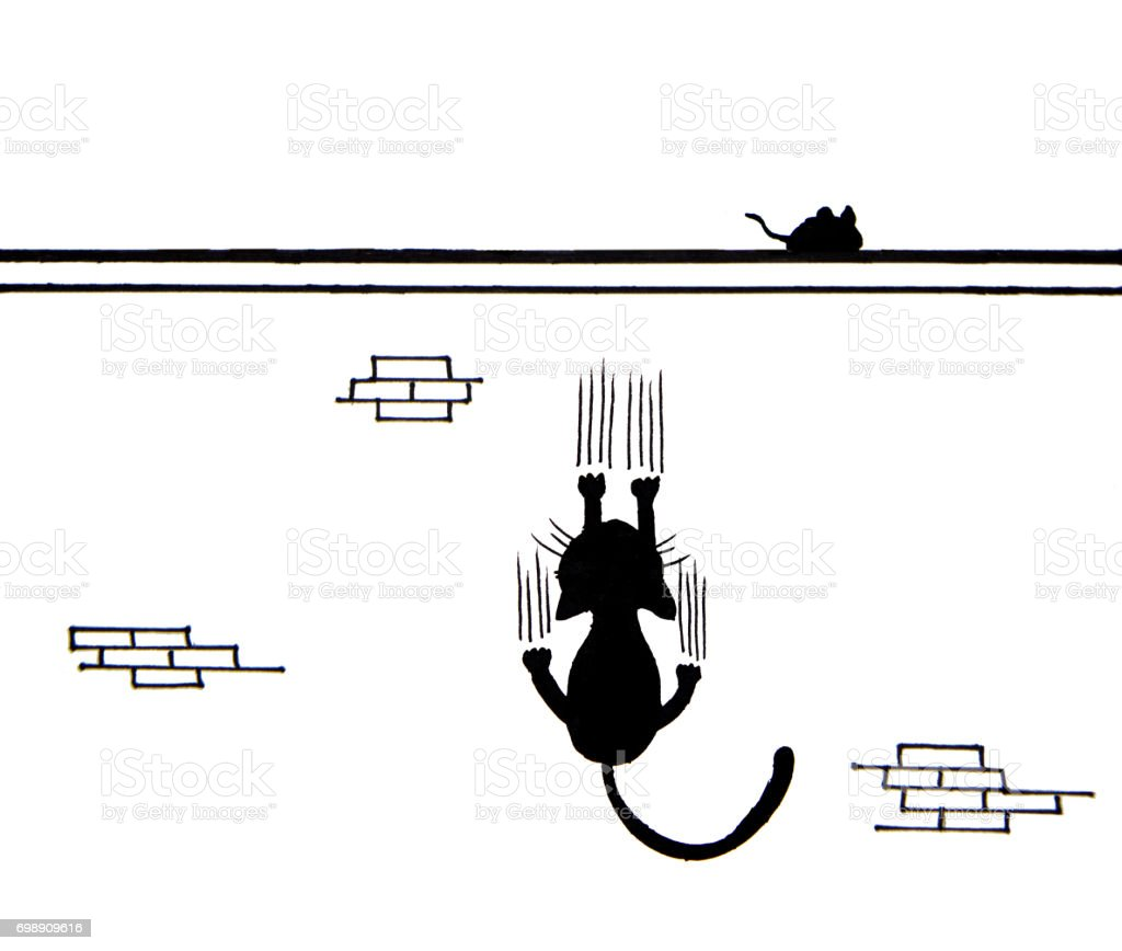 Hand drawn of Black cat scratching wall and a mouse on wall vector art illustration