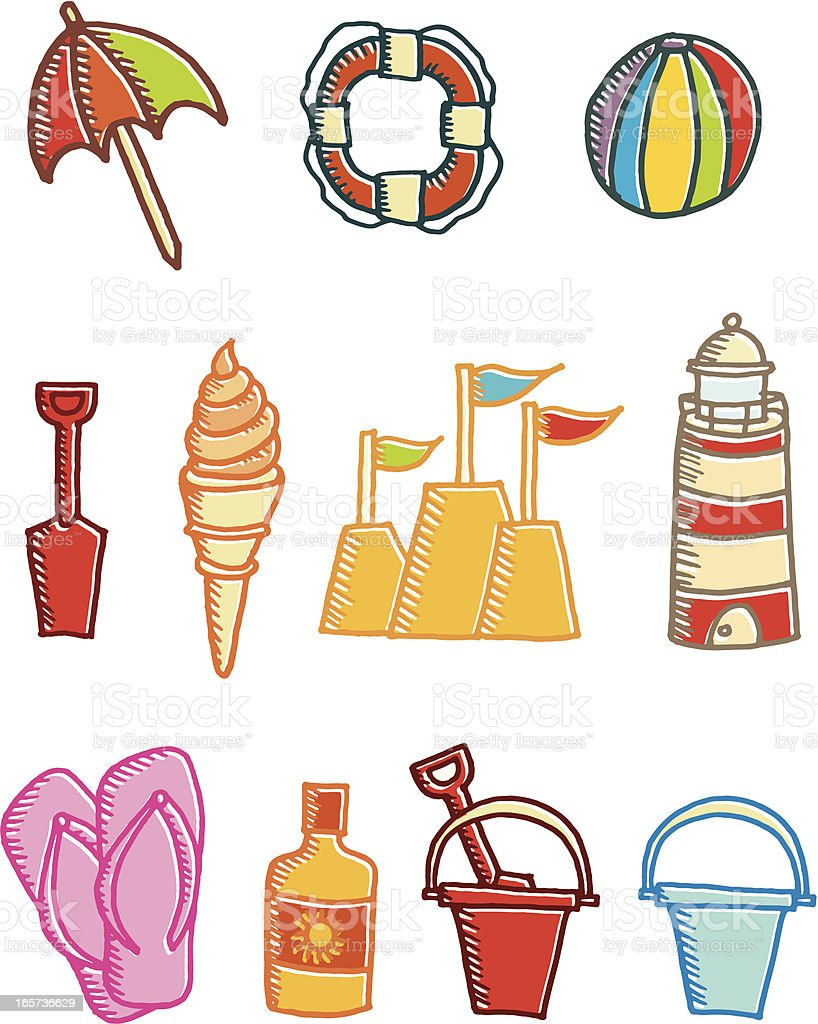 Hand drawn offset print beach and summer icons royalty-free stock vector art